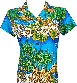 Hawaiian Shirts Women Hibiscus Flower Aloha Beach Top Blouse Casual Swim Ladies