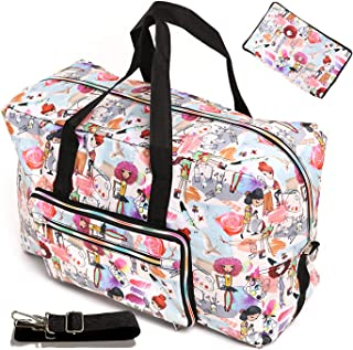 Large Foldable Travel Duffel Bag 50L Oversized Cute Floral Travel Tote Hospital Bag Handbag Shoulder Weekender Overnight Carry On Bag Checked Luggage Bag For Women Men Girls Kids, Packable Waterproof