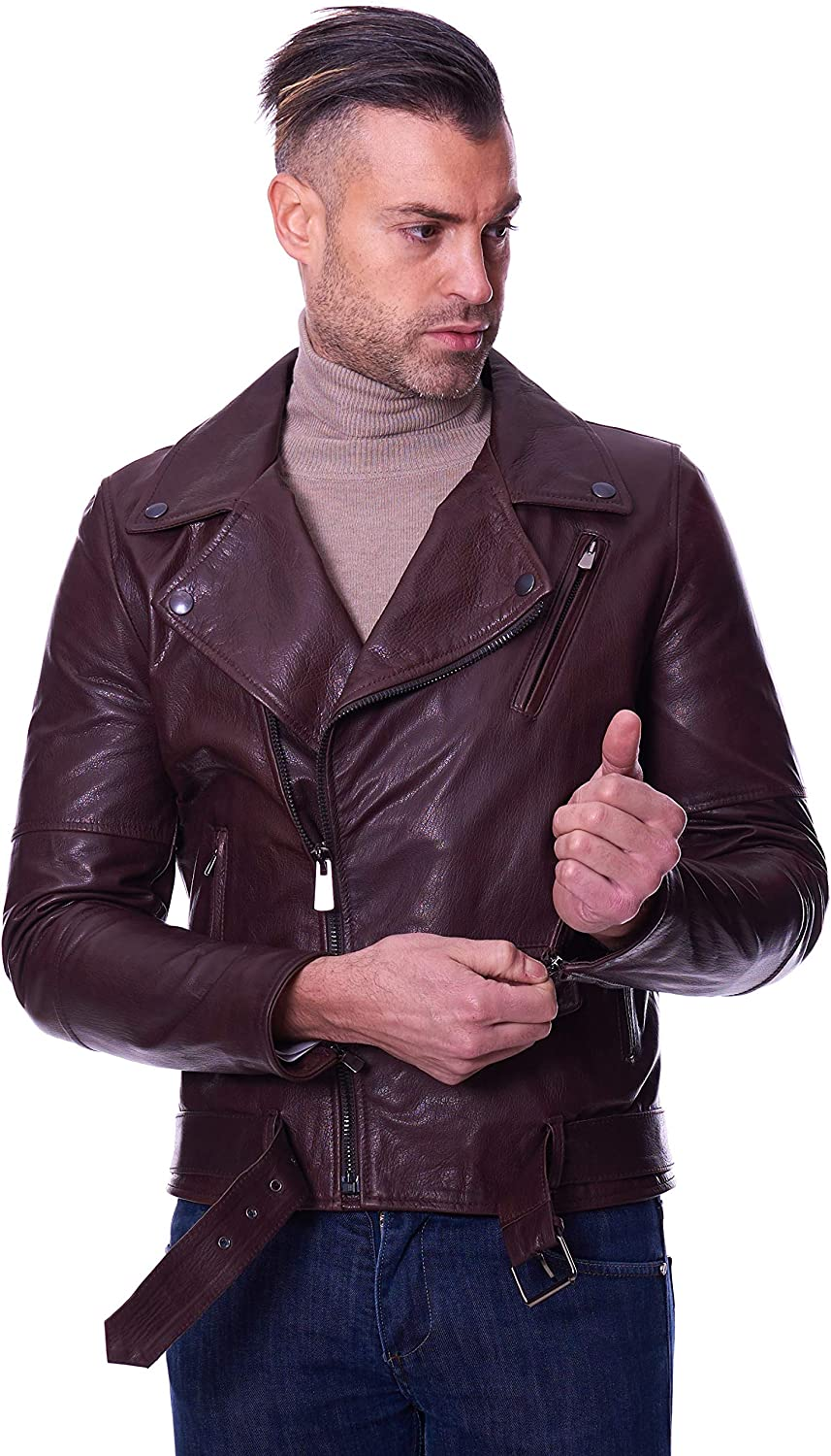 Dark brown belted goat leather perfecto jacket