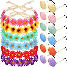 12 Pieces Hippie Headband Glasses Costume Set, Includes 6 Pieces Multicolor Girl Lady Sunflower Flower Crown, 6 Pieces Round Hippie Sunglasses for Festival Party