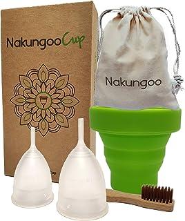 comprar comparacion NakungooCup Copa Menstrual Kit Suave Organica Certificado 2 Copas en Talla S y L Esterilizador de Silicona Lavable Dura 12...