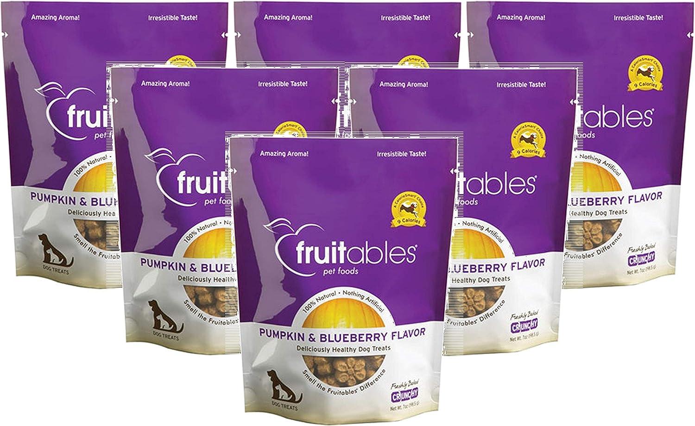 Fruitables Pumpkin & Blueberry Crunchy Dog Treats, 7oz Pouch (Pack of 6)