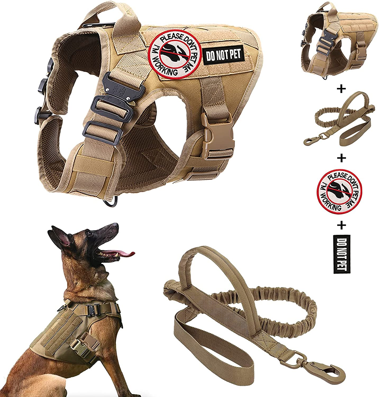 Tactical Dog Vest Harness and Over item handling Leash 2 Set Service Patch Working Latest item