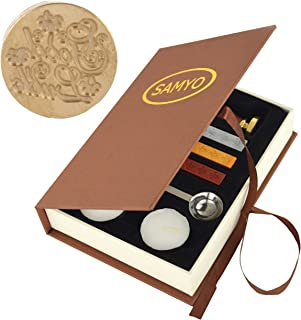 SAMYO Classic Sealing Wax Seal Stamp Vintage Old-Fashioned Antique Brass Pattern Creative Romantic Stamp Maker for Postage Letter Holiday Gift Cards (Good Luck)