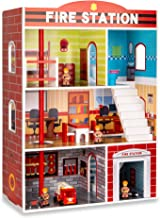 Best Choice Products 32in Kids Large Wooden 3-Story Model Fire Station Play Set Toy w/Fire Engine, Helicopter, 14 Accessor...