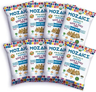 Mozaics Organic Popped Veggie & Potato Chips- Healthy snack, under 100 calories, better than veggie straws or stix - gluten free - 3.5oz big bags (Sea Salt, 8-count)