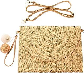 Straw Shoulder Bag Straw Clutch Straw Crossbody Bag...