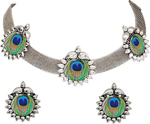Afghani Oxidised German Silver Jewellery Antique Peacock Choker Necklace Set For Women Girls