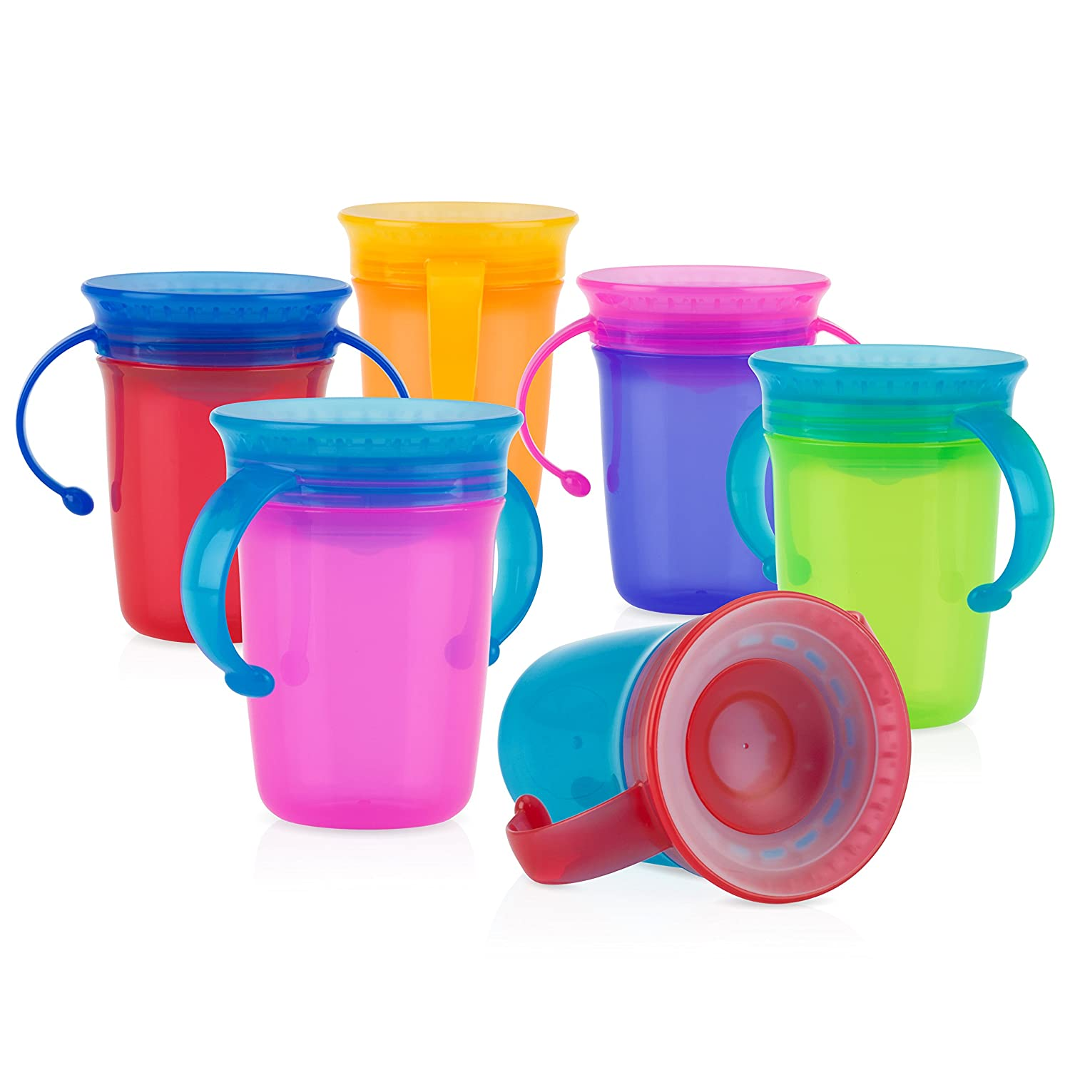 Nuby 1pk No Spill Fixed price for sale 2-Handle 360 Max 42% OFF Degree Va Colors - Cup May Wonder