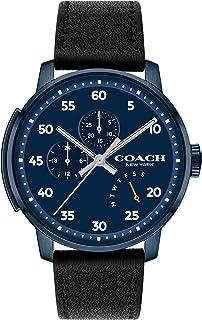 ساعة بمينا كحلي وحزام جلد بقر اسود للرجال من كوتش - 14602353