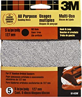 3M Hookit 9143W 5-Inch No Hole Discs,  Course 40 Grit,  5-pack