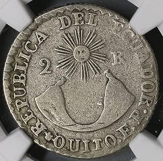 1837 EC Ecuador Rare Transposed Legends Silver Quito Coin (17101702C) 2 Reales Very Fine NGC VF 25