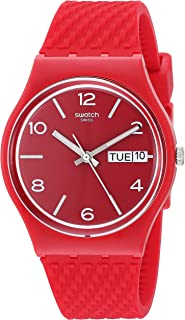 Swatch BAU Quartz Silicone Strap, Red, 18 Casual Watch (Model: GR710)