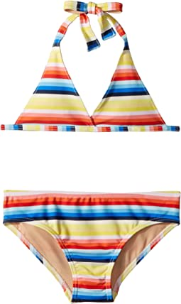 Toobydoo Retro Rainbow Stripe Bikini (Infant/Toddler/Little Kids/Big Kids)