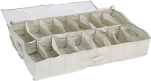 Contenitore portascarpe in tela resistente, per riporre fino a 16 paia sotto al letto, materiale tipo Oxford 600D in PVC trasparente con coperchio, 15 x 60 x 100 cm, colore: Bianco - por Brilliant Feet