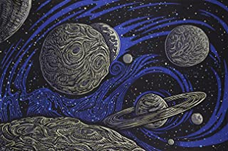 Happy Apple Sunshine Joy 3D Glow in the Dark Galactic Outer Space Planetary Psych Art Tapestry Amazing 3-D Effects - Huge 60x90 Inches