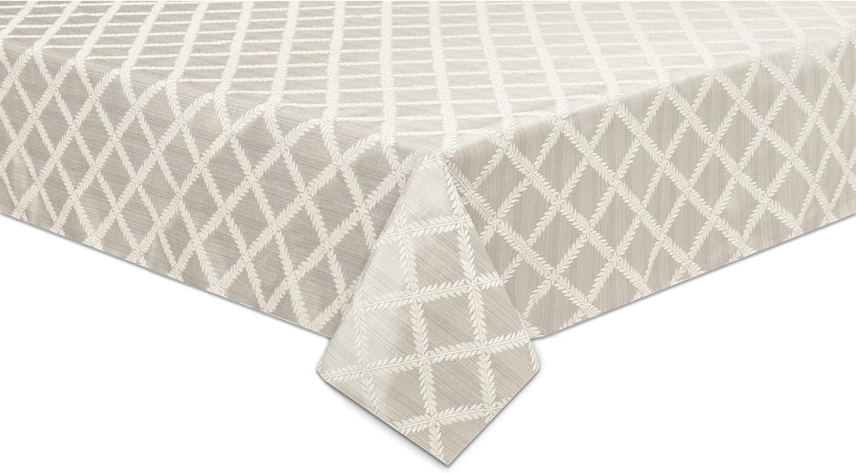 Amazon Com Lenox Laurel Leaf 70 X104 Oblong Tablecloth Platinum Home Kitchen