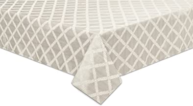 "Lenox Laurel Leaf 70""x104"" Oblong Tablecloth, Platinum"