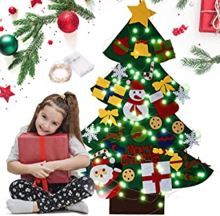 Feutre Arbre de Noël, Sapin de Noël DIY Kit avec 30 Pcs Ornements Détachables et 10 CM 100 lumières LED chaîne, Suspendue ...