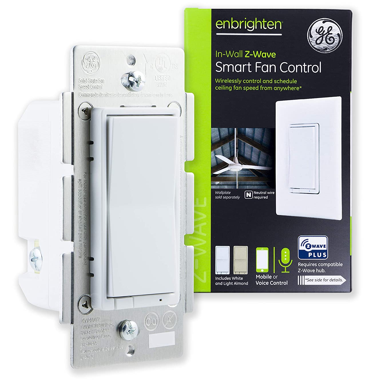 GE Enbrighten Z-Wave Plus Smart Fan Control, Speed ONLY, in-Wall, Includes White & Lt. Almond Paddles, Zwave Hub Required, Works with SmartThings Wink and Alexa, 14287, White & Light