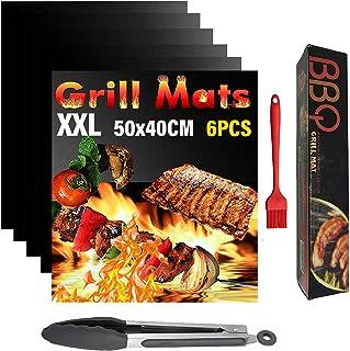 Mgee Tapis de Cuisson Barbecue Gril Mat 6 pcs, Pince & Brosse en Silicone, 0,3mm Epaisseur, Antiadhésif Réutilisable Facil...