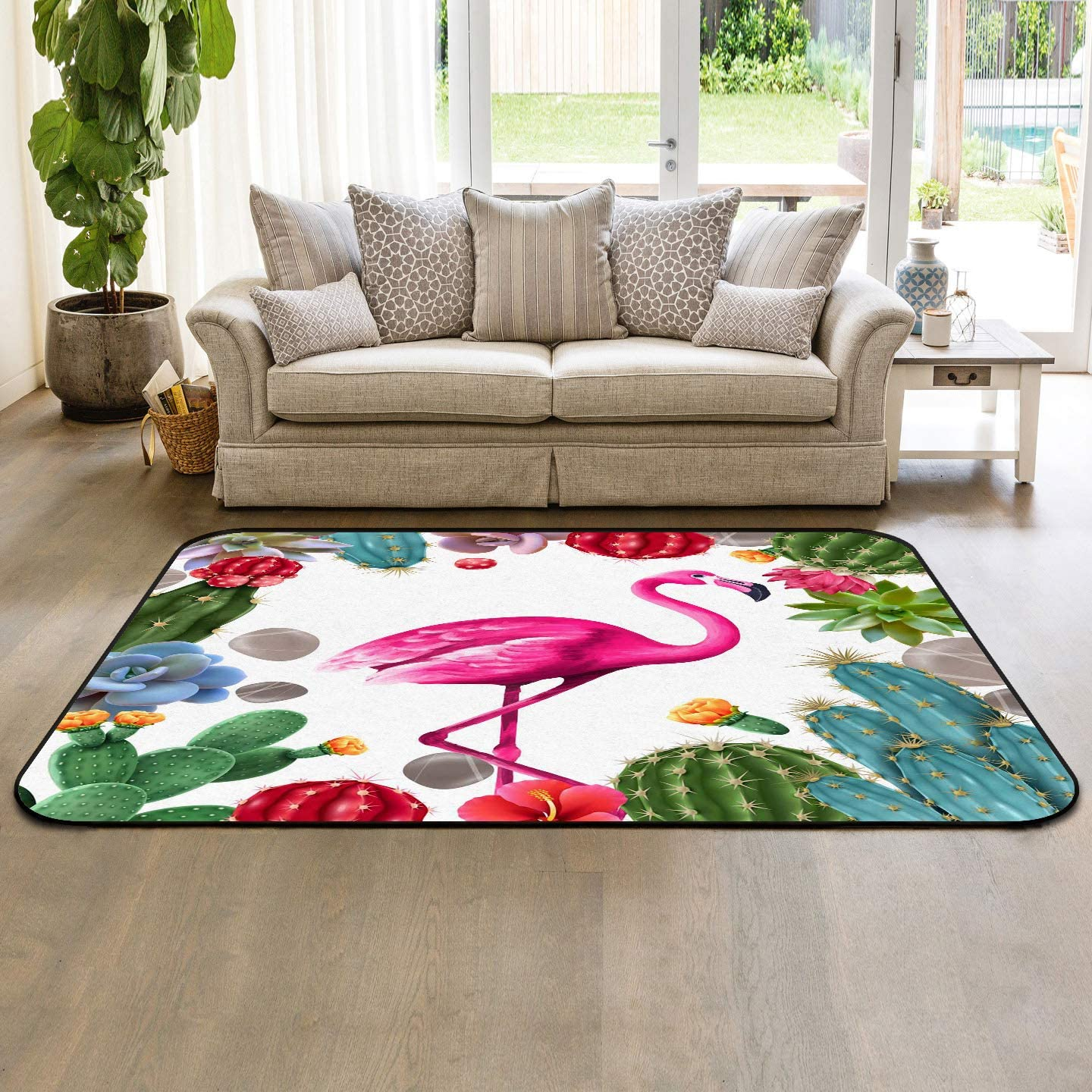 Soft Area Rugs for Bedroom Challenge Max 47% OFF the lowest price Summer Cactus Flamingo Washa Tropical