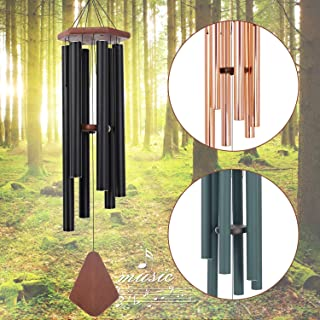Wind Chimes Outdoor Large Deep Tone, 44 Inch Sympathy Wind Chime Amazing Grace Outdoor, Memorial Wind-Chime with 6 Tuned Tubes, Elegant Chime for Garden, Patio, Balcony and Home Decor, Matte Black