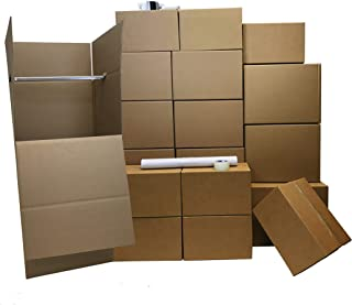 Bedroom Moving KIT 3 | Moving Boxes for Bedroom | 31 Boxes | 15 Medium, 8 Small, 8 Large, 2 Wardrobe Boxes, 220 Yards Tape | 1 Heavy Duty Tape, 48' of Bubble Wrap, 3 lbs of Wrapping Paper & 2 Markers