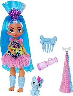 Mattel Cave Club Tella Doll (10-inch, Blue Hair) Poseable Prehistoric Fashion Doll with Dinosaur Pet and Accessories, Gift for 4 Year Olds and Up [Amazon Exclusive], Multi (GNM11)
