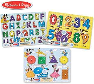 "Melissa & Doug Disney Classics Alphabet Wooden Peg Puzzle, Developmental Toys, Sturdy Wooden Construction, 26 Pieces, 0.7"" H x 11.6"" W x 8.5"" L"
