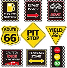 Race Car Party Decorations, Checkered Flags Racing Happy Birthday Party Signs Cutouts Let's Go Racing Party Supplies for Kids Race Fans