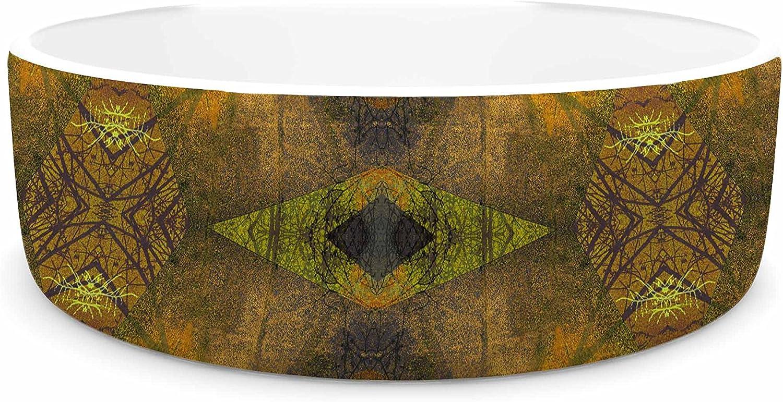 KESS InHouse Pia Schneider Pattern Garden No4 orange gold Geometric Pet Bowl, 7  Diameter