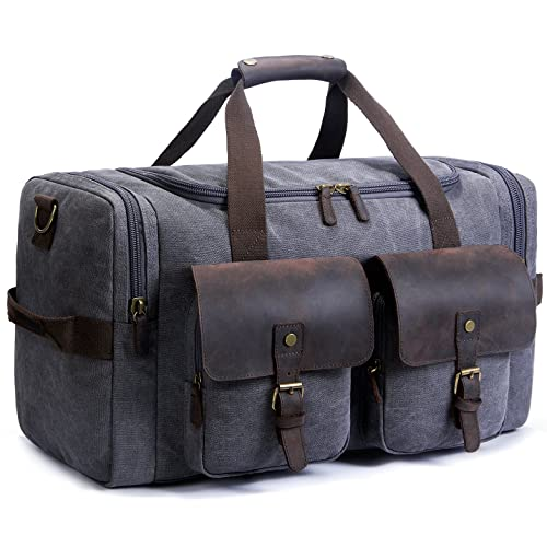 659b85aa92 SUVOM Canvas Duffle Bag Leather Weekend Bag Carry On Travel Bag Luggage  Oversized Holdalls for Men
