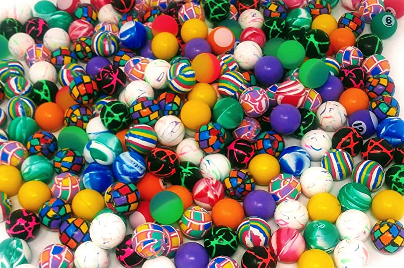 4E's Novelty Mega Bulk Assortment of 250 Bouncy Super Balls Mix for Kids, High Bouncing Swirl Rubber Balls, Great Bounce Party Favor Toys, Carnival Fun Prizes, for Boys and Girls 1