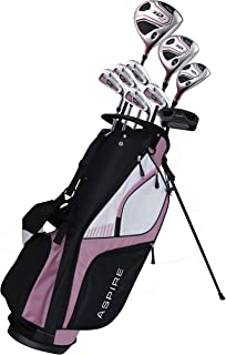 Aspire XD1 Ladies Womens Complete Right Handed Golf Clubs Set Includes Titanium Driver, S.S. Fairway, S.S. Hybrid, S.S. 6-PW Irons, Putter, Stand Bag, 3 H/C's Pink
