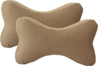 "Magasin 2 Piece Memory Foam Head Rest Cushion Set - 12"" x 6"", Golden"