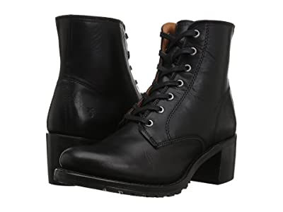Frye Sabrina 6G Lace Up (Black Oil Tanned Full Grain) Women