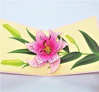 BC Worldwide Ltd carta pop-up 3D fatta a mano giglio rosa compleanno, anniversario di matrimonio, San Valentino, grazie, f...