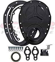 1955-65 Compatible/Replacement for CHEVY SMALL BLOCK 283-305-327-350-400 STEEL 2-PIECE TIMING CHAIN COVER SET - EDP BLACK