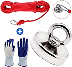 Magnet Fishing Kit with 66ft Rope & Glove, 380 LBS Pull Force Super Strong Neodymium Rare Earth Magnet with Heavy Duty Rope & Carabiner, Powerful Tool for Magnetic River Retrieving, 60mm Diameter