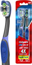 Colgate 360 Total Advanced Floss-Tip Sonic Battery Power Toothbrush with Tongue and Cheek Cleaner, Soft - 2 Count