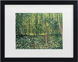 Trademark Fine Art Trees and Undergrowth, 1887 by Vincent Van Gogh, White Matte, Black Frame 11x14-Inch 11x14