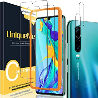 [2+2 Pack] UniqueMe Screen Protector and Camera Lens Protector Compatible for Huawei p30,[Easy Installation Frame][Anti-Sc...