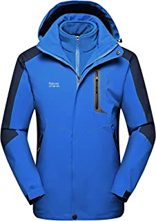 Balcony&Falcon Men's 3 in 1 Jacket Mountain Waterproof Jackets Windproof Rain Jackets Thermal Jackets with a Thermal Liner