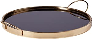 Rivet Contemporary Decorative Round Metal Serving Tray - 17.5 Inch, Black and Gold