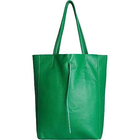 SKUTARI® Leder Vittoria Classic - Damen Shopper aus echtem Leder, Handtasche mit eingenähter Innentasche, handgefertigt in Italien, Fashion Tragetasche mit langen Griffen, 37 x 38 x 14 cm (Grün)