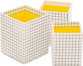 Ikea Hejsan Pen Cups Set of 3, Minimalist White Grid with Lemon Yellow Interior