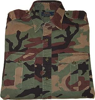 Polo Mens Camouflage Button-Down Cotton Utility Shirt