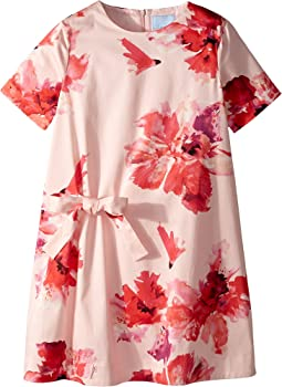 Lanvin Kids - Short Sleeve Floral Print A-Line Dress with Bow On Front (Big Kids)