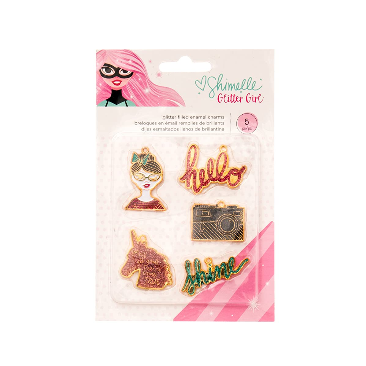 American Crafts Shimelle Glitter Girl 5 Piece Enamel Charms